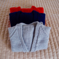 SIZE 4-5 yrs - Hand knitted jumper in grey/blue/black tones: washable, OOAK