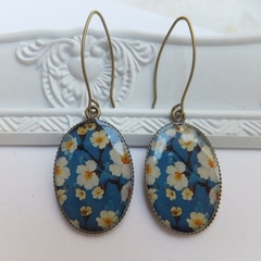 Blue with Yellow and White Flower Print Earrings