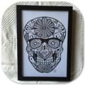 """Black Floral Sugar Skull"" - Paper Cut Art Halloween"