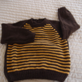 SIZE 3 - Hand knitted jumper in Brown & Burnt Orange OOAK, washable, warm