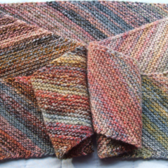 Long Scarf Pure Wool Hand Spun & Knitted Merino Wool Autumn Colours
