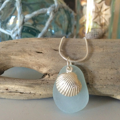 Soft Blue Sea Glass Oyster Shell Pendant