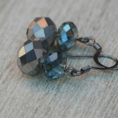 Crystal beads hook earring