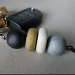 Keyring/keychain or bag tag, polymer clay keyring, handmade beads, FREE postage
