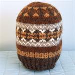 Man's Pure Wool Winter Beanie Hand Spun & Knit Fair Isle Natural Colours Dye-Fre