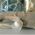 White Sea Glass Oyster Shell Pendant