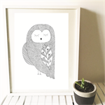 Hand Drawn Triangle Feather Owl art print