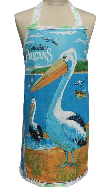 Metro Retro 'Australian Pelicans' Tea Towel HANDMADE Apron Birthday Christmas