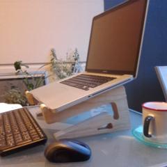 Laptop Stand - Handmade - Reclaimed Wood - Laptop on eye level. Holds Keyboard.