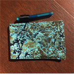 Cute pocket notebook cover  - blue/green batik