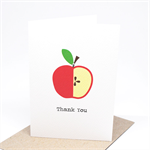 Thank You Card - Bright Red Apple - TEA003