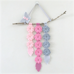 Flowers and feathers wall hanging, crochet, wood, felt, pink, grey, custom made
