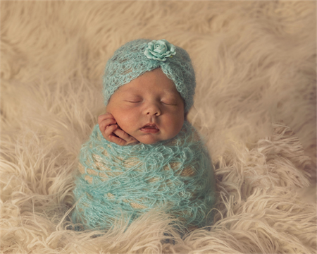Newborn Turban Hat / Beanie / Mohair Hat with Paper Rose / Aqua Blue