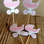 Pink Pram Cupcake Toppers (12 Pack)