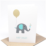 Baby Shower Card - Boy - Blue and Grey Elephant with Tan Balloon - BBYSHW020