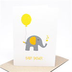 Baby Shower Card - Neutral - Yellow and Grey Elephant with Balloon - BBYSHW019