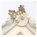 14k gold plated flower stud earrings with Swarovski pearls