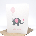 Baby Shower Card - Girl - Pink and Grey Elephant with Balloon - BBYSHW021