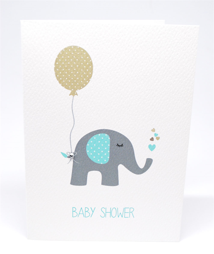 Baby Shower Card Boy Blue And Grey Elephant With Tan Balloon