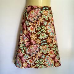 Brown Retro Floral Print A Line Skirt - ladies sizes 8 - 14 avail, vintage