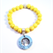 Personalised Yellow Howlite Bead Bracelet with Hand Stamped Family Tree Charm