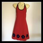 Ladies 8 to 10 Red Halter Dress - daisy, flower, hippy, retro, boho