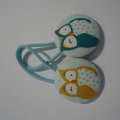 Owl fabric button hairties