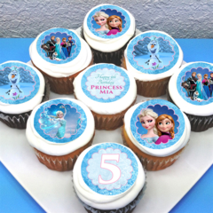 "Frozen Personalised Edible Cupcake Toppers - 2"" - PRE-CUT"