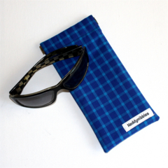 Padded Sunglasses Pouch in Upcycled Shirt Fabric