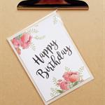 happy birthday watercolour roses card