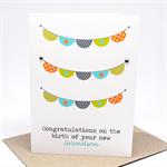 Baby Grandson Card - New Grandson - Baby Boys Bunting - BBYGDP005