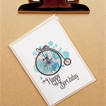 Happy birthday penny farthing blue watercolour card