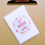 get well floral wreath card
