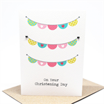 Christening Day Card - Girl - Girls Bunting - BBYCHR015