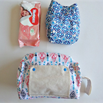 Pink and Blue diamond pattern modern cloth nappy bag. nappy wallet.