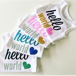 Hello World Coming Home Newborn Baby Onesie Design.