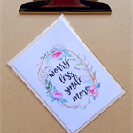 worry less smile more inspirational card