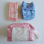 Pink white chevron pattern modern cloth nappy bag. nappy wallet.