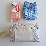 Mint Brown pattern modern cloth nappy bag. nappy wallet.