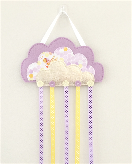 Gold cloud hair clips holder, felt, lavender purple, storage, wall decor