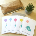 Birthday Card Pack - Turquoise Birdies with Balloons - Set of 5 -  5P001