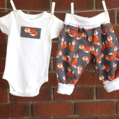 FOX BABY CLOTHES, gray baby outfit foxes, unisex baby set