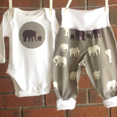 ONEPIECE, baby unisex outfit, organic harems and cotton bodysuit