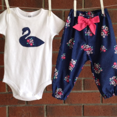 BABY GIRL CLOTHES, navy floral baby girl set,size 3 6 12 18 m