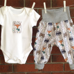 BABY CLOTHES WOODLAND, gray unisex baby outfit, gender neutral baby