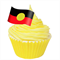 12 PRE CUT EDIBLE RICE WAFER CARD ABORIGINAL FLAG CUPCAKE PARTY TOPPERS