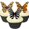 12 PRE CUT EDIBLE RICE WAFER CARD ANIMAL PRINT BUTTERFLY CUPCAKE  TOPPERS