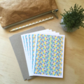 Blank Card Pack -  Geometric Triangles Teal - Set of 5 Cards - 5P005