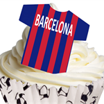 12 PRE CUT EDIBLE RICE WAFER CARD BARCELONA FOOTBALL SHIRT CUPCAKE  TOPPERS