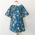 Smock - 3/4 sleeve - Retro Blue Floral - Girls Dress -